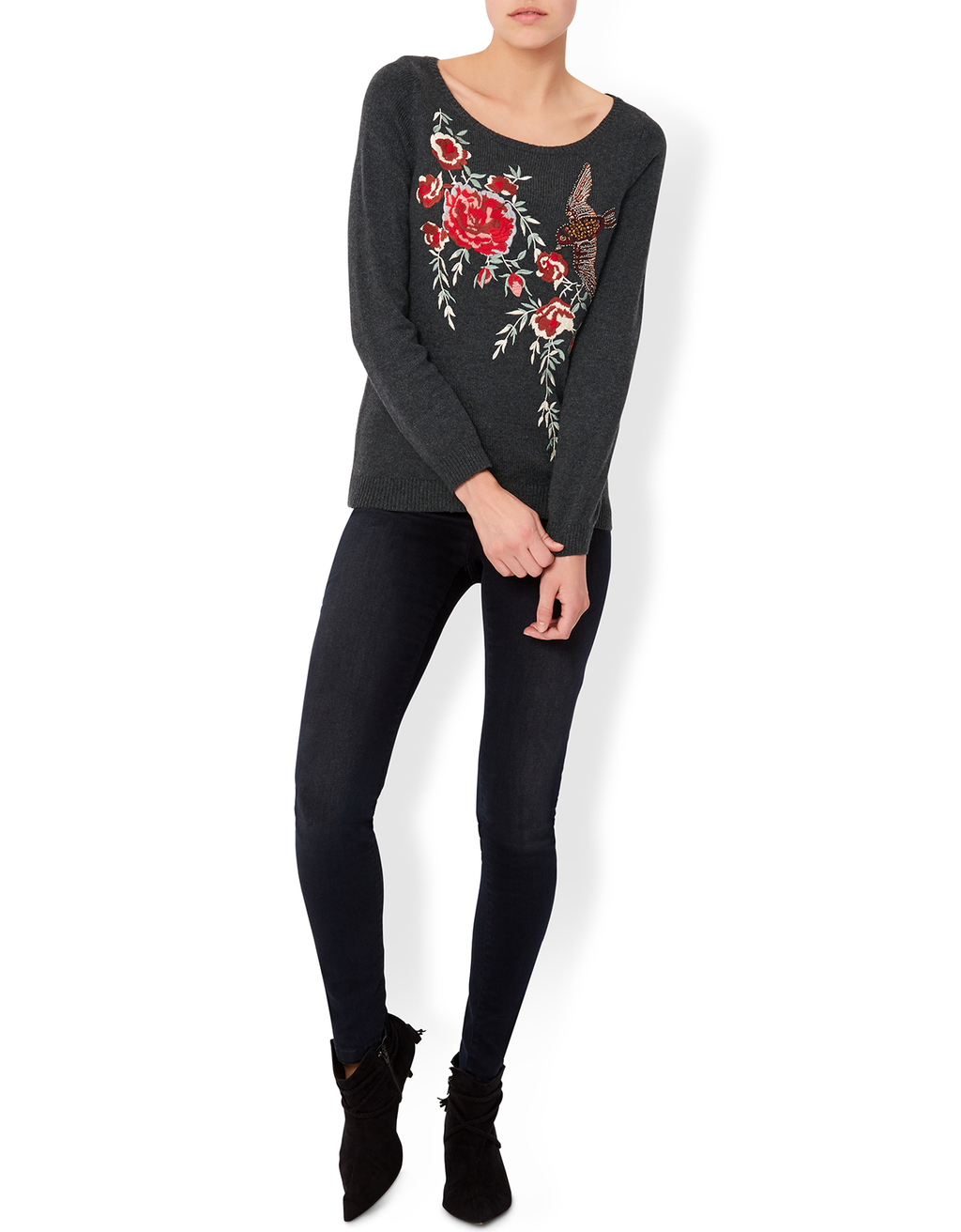 Elle Embroidery Bird Jumper - neckline: round neck; style: standard; secondary colour: true red; predominant colour: black; occasions: casual; length: standard; fibres: cotton - mix; fit: slim fit; sleeve length: long sleeve; sleeve style: standard; pattern type: fabric; pattern size: light/subtle; pattern: patterned/print; texture group: jersey - stretchy/drapey; embellishment: embroidered; multicoloured: multicoloured; season: a/w 2016; wardrobe: highlight