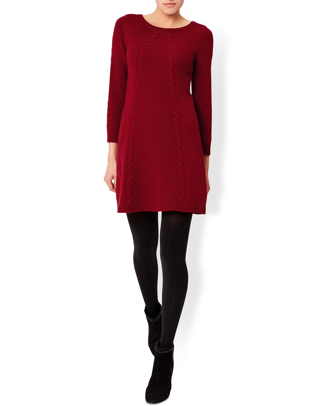 Cacey Cable Knitted Long Sleeve Dress - style: jumper dress; length: mini; neckline: round neck; pattern: cable knit; occasions: casual, creative work; fit: body skimming; fibres: cotton - mix; sleeve length: 3/4 length; sleeve style: standard; texture group: knits/crochet; pattern type: knitted - other; pattern size: standard; predominant colour: raspberry; season: a/w 2016; wardrobe: highlight
