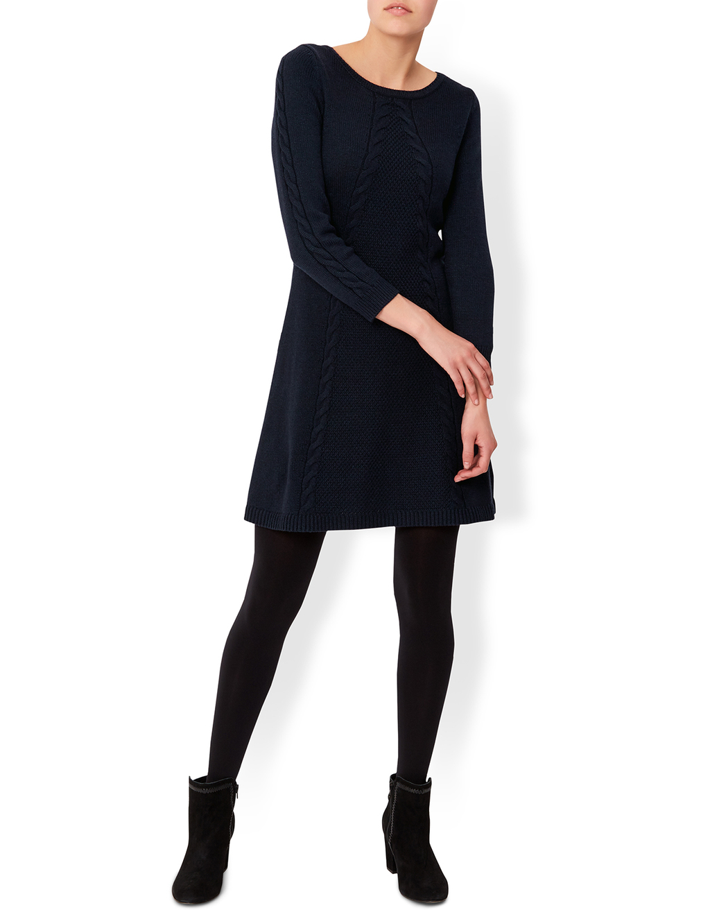 Cacey Cable Knitted Long Sleeve Dress - pattern: cable knit; predominant colour: navy; occasions: casual; length: just above the knee; fit: fitted at waist & bust; style: fit & flare; fibres: cotton - mix; neckline: crew; sleeve length: 3/4 length; sleeve style: standard; texture group: knits/crochet; pattern type: knitted - fine stitch; season: a/w 2016; wardrobe: highlight