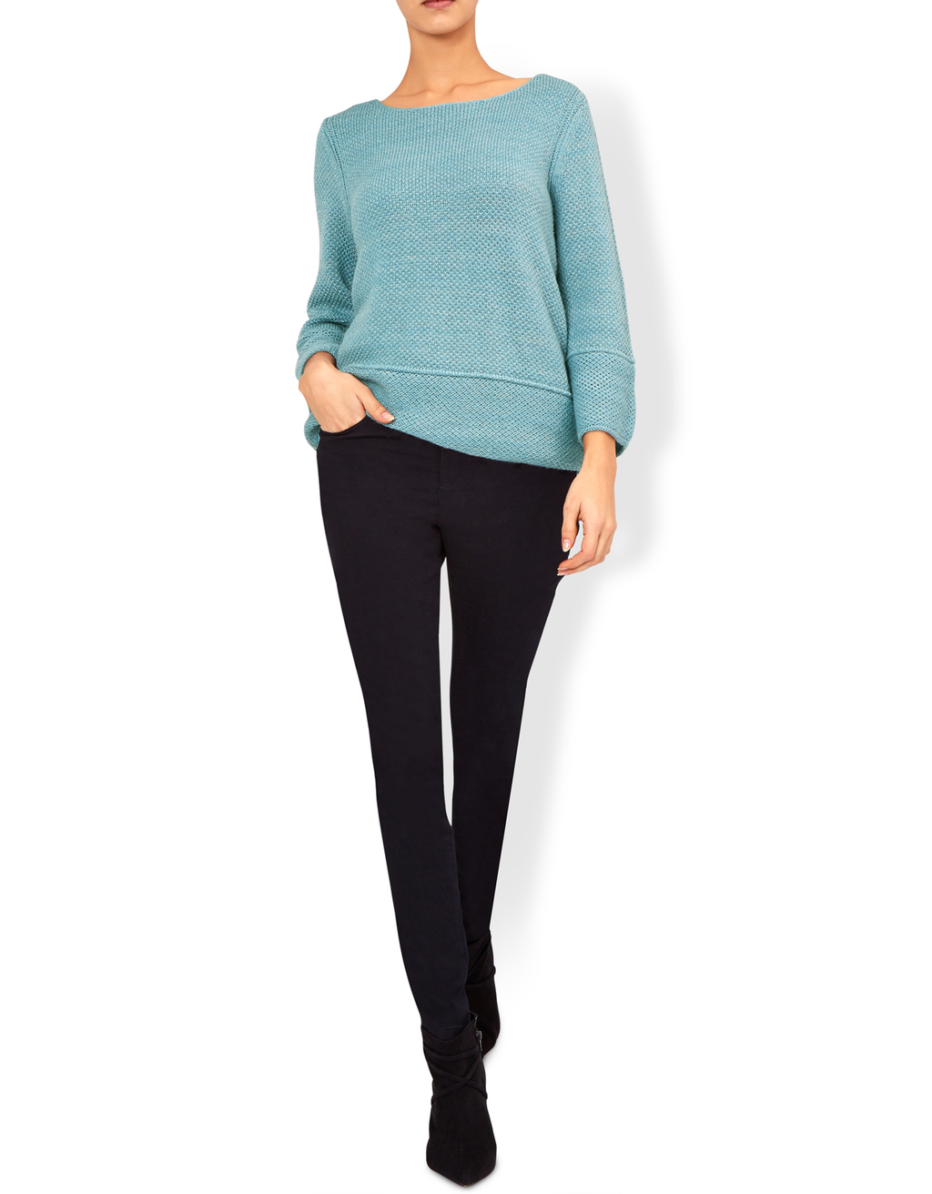 Kate Casual Sparkle Jumper - neckline: round neck; pattern: plain; style: standard; predominant colour: pale blue; occasions: casual; length: standard; fibres: cotton - mix; fit: standard fit; sleeve length: long sleeve; sleeve style: standard; pattern type: fabric; texture group: jersey - stretchy/drapey; season: a/w 2016; wardrobe: highlight