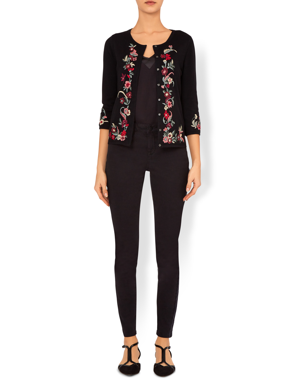 Beth Blooms Embroidery Cardigan - pattern: plain; neckline: collarless open; style: open front; secondary colour: hot pink; predominant colour: black; occasions: casual, creative work; length: standard; fibres: cotton - mix; fit: slim fit; sleeve length: 3/4 length; sleeve style: standard; texture group: knits/crochet; pattern type: knitted - fine stitch; embellishment: embroidered; season: a/w 2016; wardrobe: highlight; embellishment location: trim