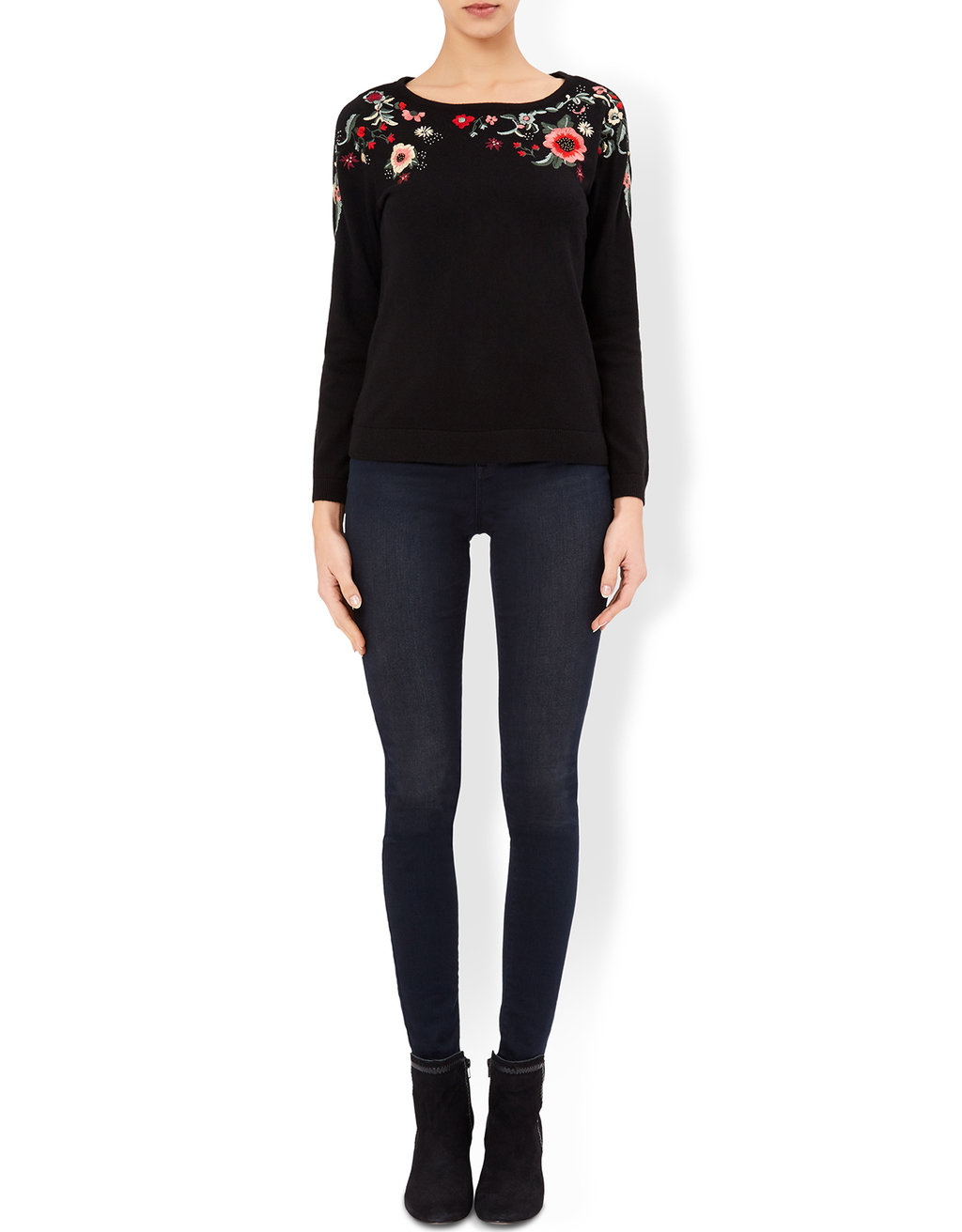 Beth Floral Embroidered Jumper - style: standard; predominant colour: black; occasions: casual; length: standard; fibres: cotton - mix; fit: standard fit; neckline: crew; sleeve length: long sleeve; sleeve style: standard; texture group: knits/crochet; pattern type: knitted - fine stitch; pattern: florals; embellishment: embroidered; season: a/w 2016; wardrobe: highlight; embellishment location: bust