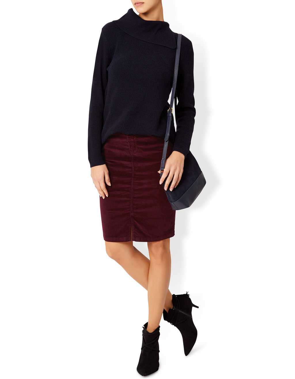 Katya Stretch Short Velvet Skirt - pattern: plain; style: pencil; fit: tailored/fitted; waist: high rise; predominant colour: burgundy; occasions: casual, creative work; length: just above the knee; fibres: polyester/polyamide - 100%; texture group: corduroy; pattern type: fabric; season: a/w 2016; wardrobe: highlight
