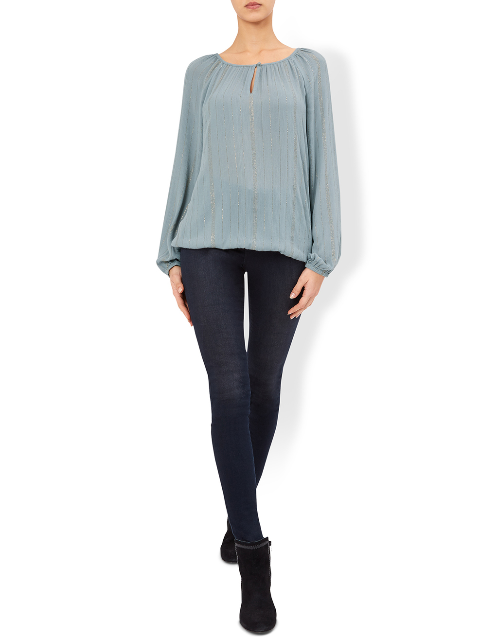 Remy Long Sleeve Blouse - pattern: plain; sleeve style: balloon; style: blouse; predominant colour: pale blue; occasions: evening, work, occasion; length: standard; neckline: peep hole neckline; fibres: polyester/polyamide - 100%; fit: loose; sleeve length: long sleeve; texture group: sheer fabrics/chiffon/organza etc.; pattern type: fabric; season: a/w 2016; wardrobe: highlight