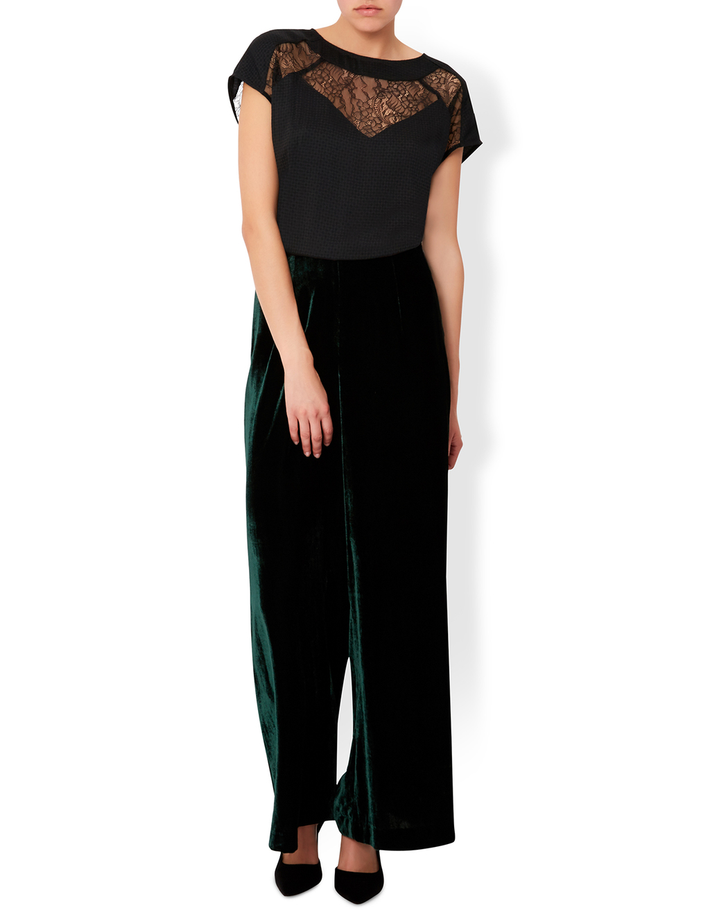 Thistle Lace Top - pattern: plain; bust detail: sheer at bust; style: blouse; predominant colour: black; occasions: evening; length: standard; fibres: polyester/polyamide - mix; fit: loose; neckline: crew; sleeve length: short sleeve; sleeve style: standard; texture group: sheer fabrics/chiffon/organza etc.; pattern type: fabric; season: a/w 2016; wardrobe: event