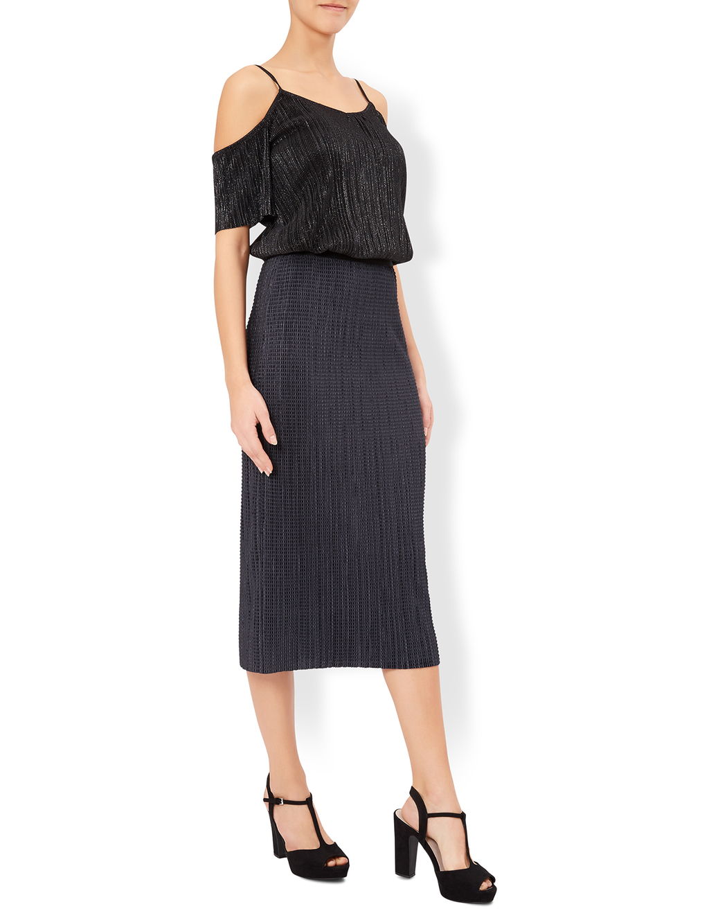 Vanessa Plisse Midi Skirt - length: below the knee; pattern: plain; fit: body skimming; style: pleated; waist: high rise; predominant colour: charcoal; occasions: evening; fibres: polyester/polyamide - 100%; texture group: silky - light; pattern type: fabric; season: a/w 2016; wardrobe: event