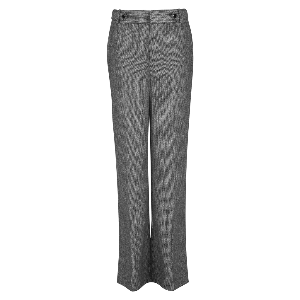 Wide Leg Herringbone Trousers - length: standard; waist: high rise; pattern: herringbone/tweed; predominant colour: mid grey; occasions: work; fibres: wool - mix; fit: wide leg; pattern type: fabric; texture group: other - light to midweight; style: standard; pattern size: light/subtle (bottom); season: a/w 2016; wardrobe: highlight