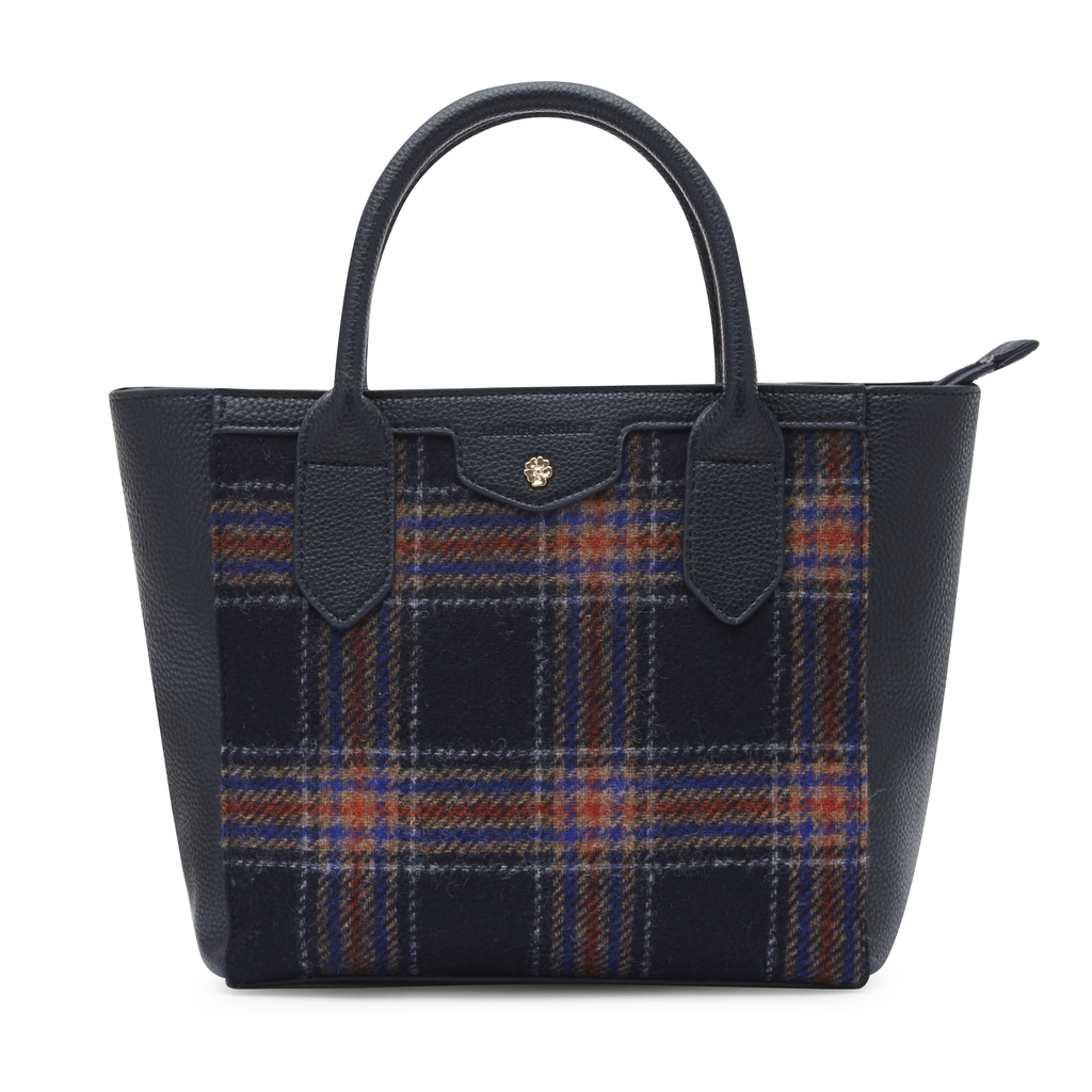 Moon British Wool Check Grab Bag - predominant colour: black; occasions: casual, creative work; type of pattern: heavy; style: tote; length: handle; size: oversized; material: fabric; pattern: checked/gingham; finish: plain; multicoloured: multicoloured; season: a/w 2016