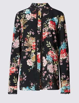 Floral Blouse - secondary colour: pink; predominant colour: black; occasions: casual, creative work; length: standard; style: top; fibres: polyester/polyamide - 100%; fit: straight cut; neckline: crew; sleeve length: short sleeve; sleeve style: standard; pattern type: fabric; pattern: florals; texture group: jersey - stretchy/drapey; season: s/s 2015; pattern size: big & busy (top); multicoloured: multicoloured; wardrobe: highlight; embellishment: contrast fabric; embellishment location: shoulder