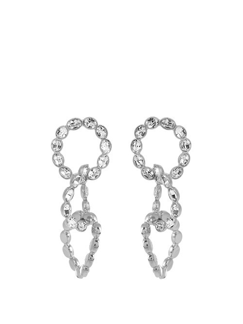 Crystal Embellished Earrings - predominant colour: silver; occasions: evening, occasion; style: drop; length: mid; size: large/oversized; material: chain/metal; fastening: pierced; finish: metallic; embellishment: crystals/glass; season: a/w 2016; wardrobe: event