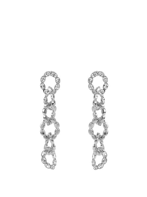 Crystal Embellished Earrings - predominant colour: silver; occasions: evening, occasion; style: drop; length: long; size: large/oversized; material: chain/metal; fastening: pierced; finish: metallic; embellishment: crystals/glass; season: a/w 2016; wardrobe: event