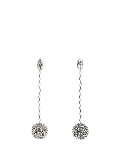 Ball Earrings - predominant colour: silver; occasions: evening, occasion; style: drop; length: long; size: standard; material: chain/metal; fastening: pierced; finish: plain; embellishment: crystals/glass; season: a/w 2016; wardrobe: event