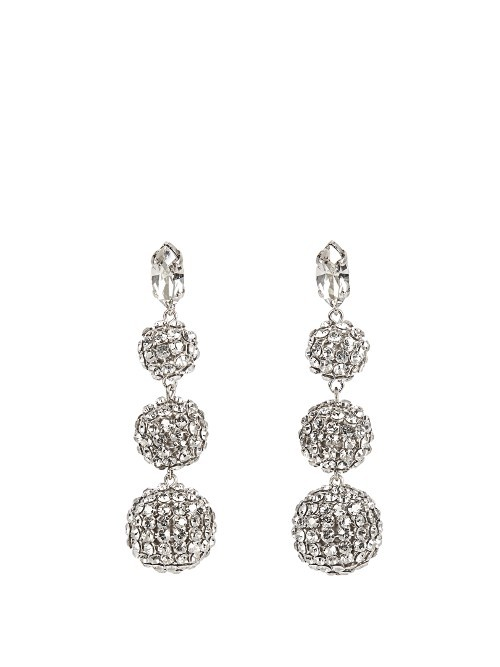 Ball Triple Earrings - predominant colour: silver; occasions: evening, occasion; style: chandelier; length: long; size: large/oversized; material: chain/metal; fastening: pierced; finish: metallic; embellishment: crystals/glass; season: a/w 2016; wardrobe: event