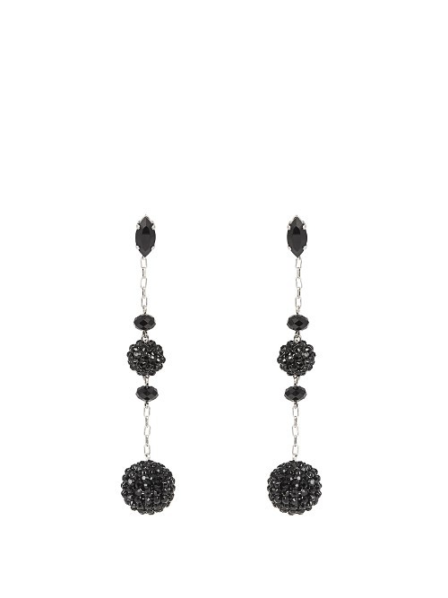 Ball Double Earrings - predominant colour: black; occasions: evening, occasion; style: drop; length: long; size: large/oversized; material: chain/metal; fastening: pierced; finish: plain; embellishment: jewels/stone; season: a/w 2016; wardrobe: event