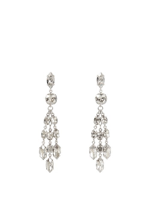 Crystal Embellished Earrings - predominant colour: silver; occasions: evening, occasion; style: chandelier; length: long; size: large/oversized; material: chain/metal; fastening: pierced; finish: metallic; embellishment: crystals/glass; season: a/w 2016; wardrobe: event