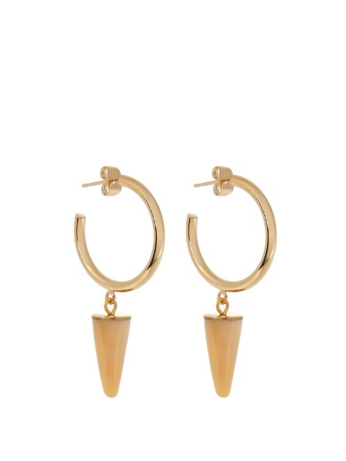 Dark Side Earrings - predominant colour: gold; occasions: evening, creative work; style: drop; length: mid; size: standard; material: chain/metal; fastening: pierced; finish: metallic; season: a/w 2016; wardrobe: highlight