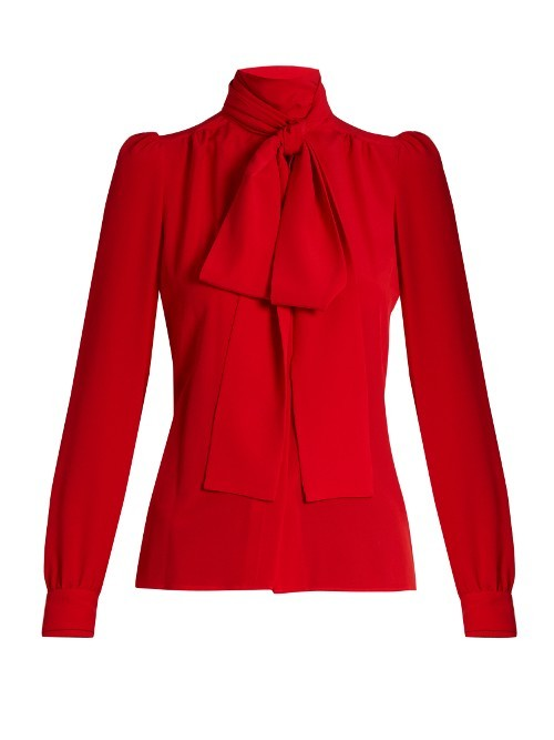 Tie Neck Silk Blouse - pattern: plain; style: shirt; neckline: pussy bow; predominant colour: true red; occasions: work, occasion; length: standard; fibres: silk - 100%; fit: tailored/fitted; sleeve length: long sleeve; sleeve style: standard; texture group: silky - light; pattern type: fabric; season: a/w 2016; wardrobe: highlight