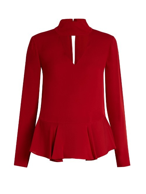 Kalesta Blouse - pattern: plain; neckline: high neck; style: blouse; predominant colour: true red; occasions: evening; length: standard; fibres: silk - 100%; fit: body skimming; sleeve length: long sleeve; sleeve style: standard; texture group: silky - light; hip detail: ruffles/tiers/tie detail at hip; pattern type: fabric; season: a/w 2016; wardrobe: event