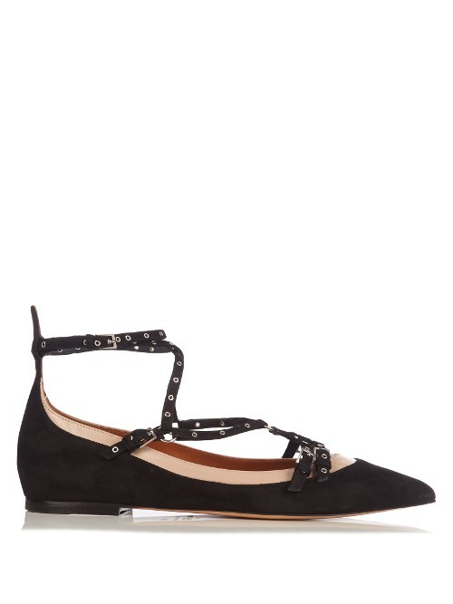 Love Latch Suede And Leather Flats - predominant colour: black; occasions: casual, work, creative work; material: suede; heel height: flat; embellishment: studs; ankle detail: ankle strap; toe: pointed toe; style: ballerinas / pumps; finish: plain; pattern: plain; season: a/w 2016