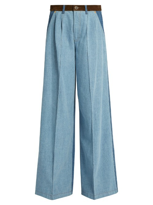 High Waisted Wide Leg Patchwork Jeans - length: standard; pattern: plain; waist: high rise; style: wide leg; predominant colour: denim; occasions: casual, creative work; fibres: cotton - stretch; texture group: denim; pattern type: fabric; wardrobe: basic; season: a/w 2016