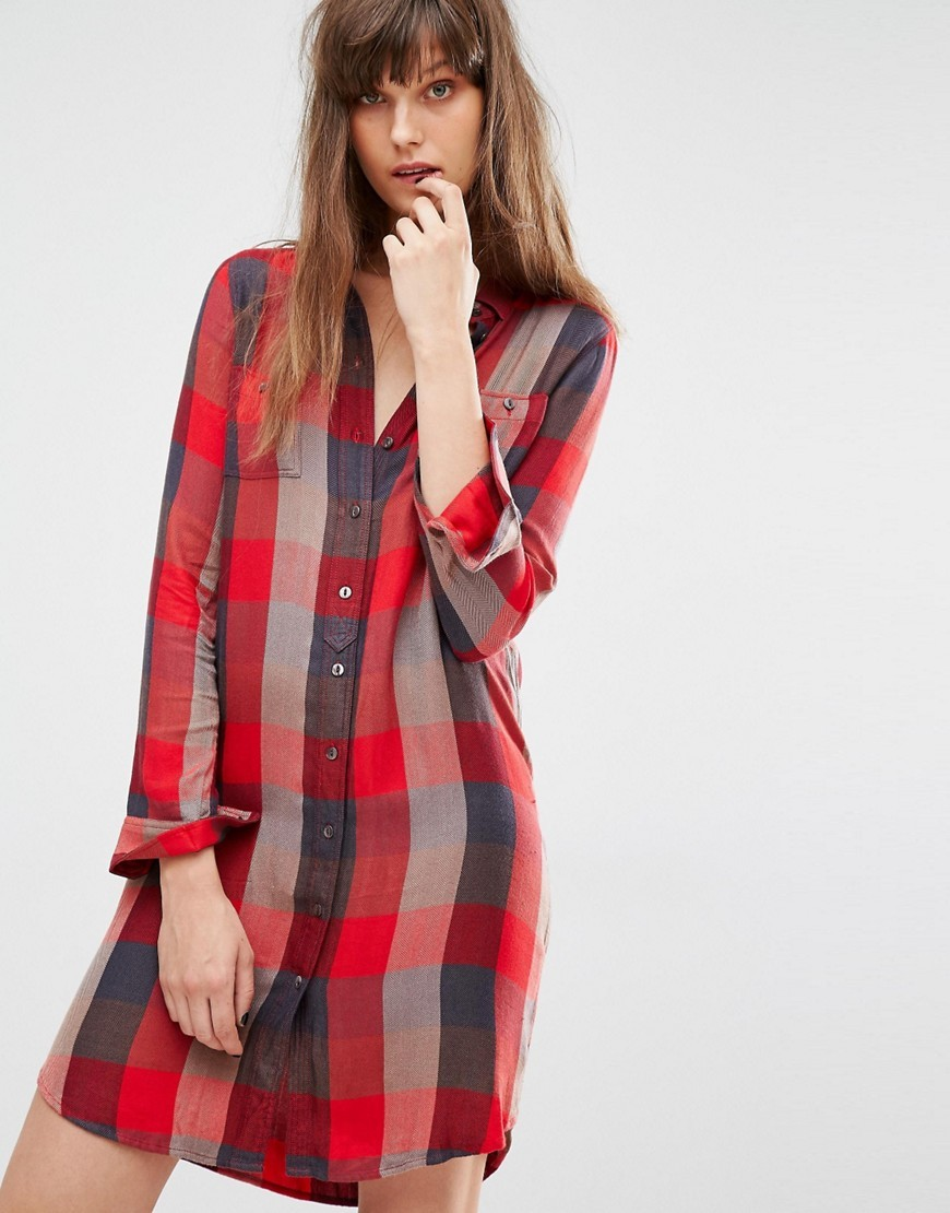 Check Shirt Dress Sumac Tango Red - style: shirt; length: mid thigh; neckline: shirt collar/peter pan/zip with opening; pattern: checked/gingham; predominant colour: true red; secondary colour: charcoal; occasions: casual; fit: straight cut; fibres: viscose/rayon - 100%; sleeve length: long sleeve; sleeve style: standard; texture group: cotton feel fabrics; pattern type: fabric; multicoloured: multicoloured; season: a/w 2016; wardrobe: highlight