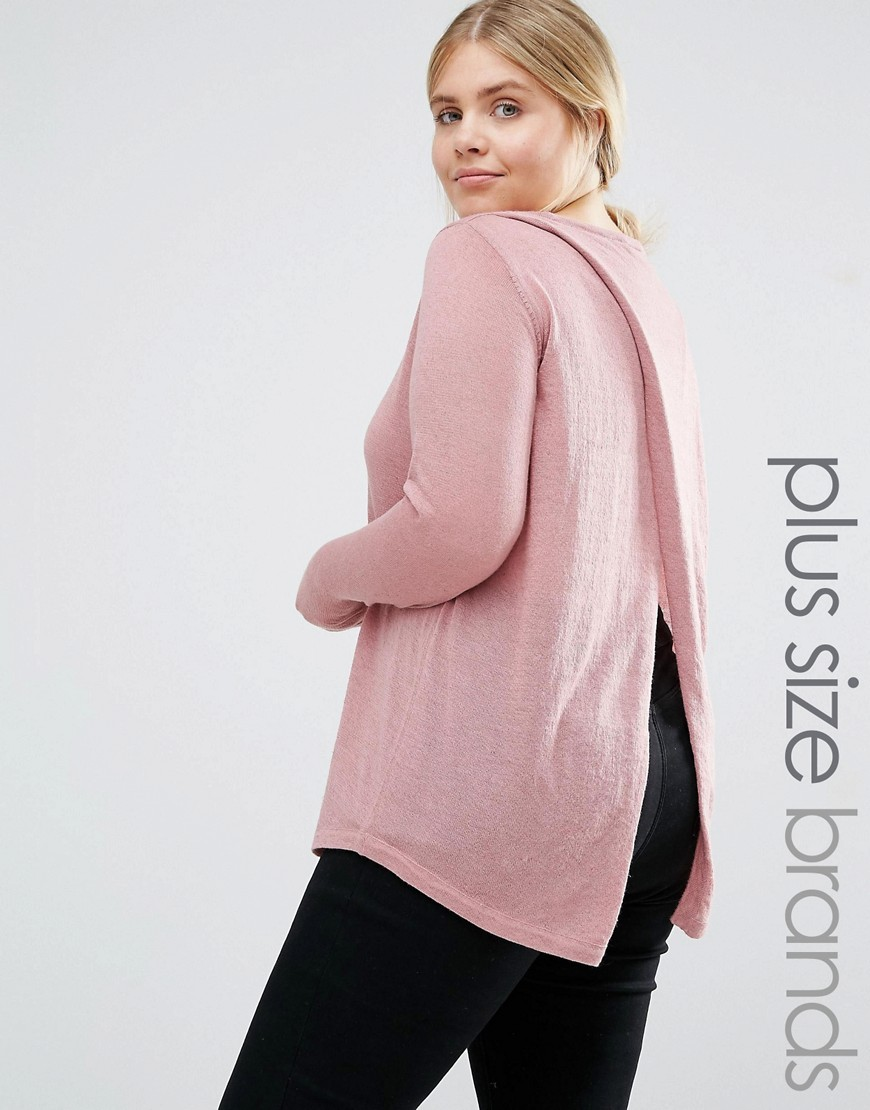 Wrap Back Knitted Jumper Pink - neckline: round neck; pattern: plain; length: below the bottom; back detail: low cut/open back; style: standard; predominant colour: blush; occasions: casual, creative work; fibres: polyester/polyamide - mix; fit: loose; sleeve length: long sleeve; sleeve style: standard; texture group: knits/crochet; pattern type: knitted - fine stitch; season: a/w 2016; wardrobe: highlight