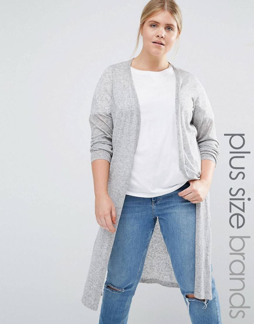 Longline Knitted Cardigan With Side Splits Grey - pattern: plain; neckline: collarless open; style: open front; length: below the knee; predominant colour: light grey; occasions: casual, work, creative work; fibres: polyester/polyamide - mix; fit: loose; sleeve length: long sleeve; sleeve style: standard; texture group: knits/crochet; pattern type: knitted - fine stitch; wardrobe: basic; season: a/w 2016