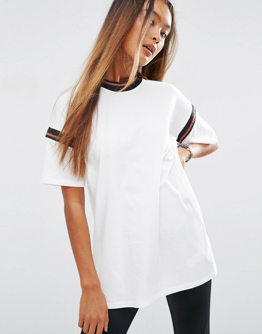 T Shirt With Sparkly Stripe Insert Cream - neckline: high neck; pattern: striped; length: below the bottom; style: t-shirt; predominant colour: white; secondary colour: black; occasions: casual; fibres: cotton - 100%; fit: loose; sleeve length: short sleeve; sleeve style: standard; pattern type: fabric; pattern size: standard; texture group: jersey - stretchy/drapey; embellishment: glitter; multicoloured: multicoloured; season: a/w 2016; wardrobe: highlight