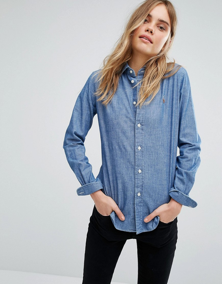 Chambray Shirt With Pocket Logo Blue - neckline: shirt collar/peter pan/zip with opening; pattern: plain; style: shirt; predominant colour: denim; occasions: casual; length: standard; fibres: cotton - 100%; fit: body skimming; sleeve length: long sleeve; sleeve style: standard; texture group: denim; pattern type: fabric; season: a/w 2016