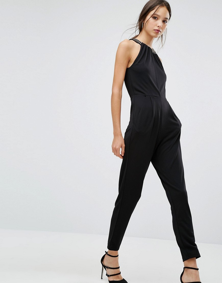 Diamond Drape Jumpsuit Black - length: standard; fit: tailored/fitted; pattern: plain; sleeve style: sleeveless; back detail: back revealing; predominant colour: black; occasions: evening; fibres: viscose/rayon - 100%; neckline: crew; sleeve length: sleeveless; style: jumpsuit; pattern type: fabric; texture group: woven light midweight; embellishment: crystals/glass; season: a/w 2016; wardrobe: event; embellishment location: neck, trim
