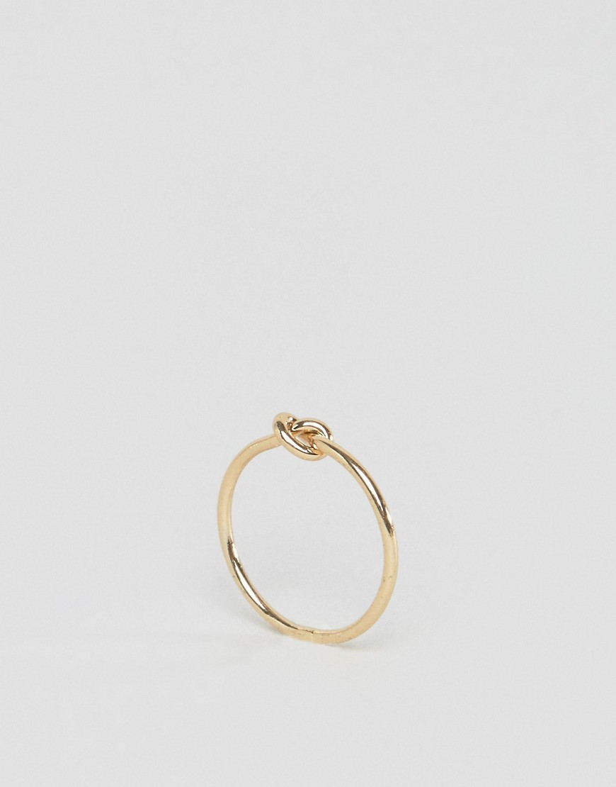 Tiny Knot Pinky Ring Gold - predominant colour: gold; occasions: casual, creative work; style: band; size: small/fine; material: chain/metal; finish: metallic; embellishment: chain/metal; wardrobe: basic; season: a/w 2016