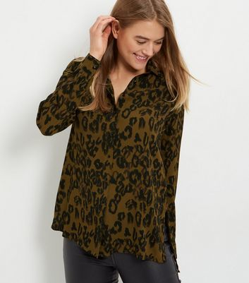 Green Animal Print Long Sleeve Shirt - neckline: shirt collar/peter pan/zip with opening; style: shirt; predominant colour: khaki; secondary colour: black; occasions: casual; length: standard; fibres: viscose/rayon - 100%; fit: body skimming; sleeve length: long sleeve; sleeve style: standard; pattern type: fabric; pattern size: standard; pattern: patterned/print; texture group: jersey - stretchy/drapey; multicoloured: multicoloured; season: a/w 2016; wardrobe: highlight
