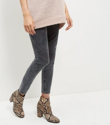 Maternity Grey Acid Wash Skinny Jeans - style: skinny leg; pattern: plain; pocket detail: traditional 5 pocket; waist: mid/regular rise; predominant colour: mid grey; occasions: casual; length: ankle length; fibres: cotton - stretch; texture group: denim; pattern type: fabric; season: a/w 2016; wardrobe: highlight