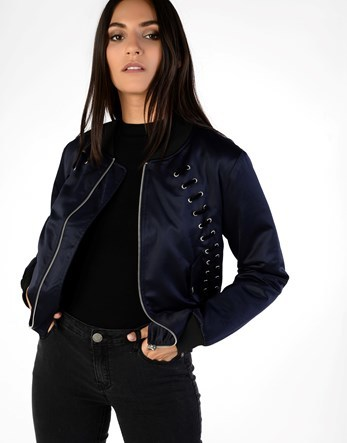 Bomber Jacket - pattern: plain; collar: round collar/collarless; fit: loose; style: bomber; predominant colour: black; occasions: casual; length: standard; fibres: polyester/polyamide - 100%; sleeve length: long sleeve; sleeve style: standard; collar break: high; pattern type: fabric; texture group: woven light midweight; season: a/w 2016