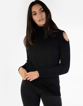Cold Shoulder Jumper - neckline: roll neck; style: standard; pattern: cable knit; predominant colour: black; occasions: casual; length: standard; fibres: cotton - mix; fit: standard fit; shoulder detail: cut out shoulder; sleeve length: long sleeve; sleeve style: standard; texture group: knits/crochet; pattern type: knitted - other; season: a/w 2016; wardrobe: highlight