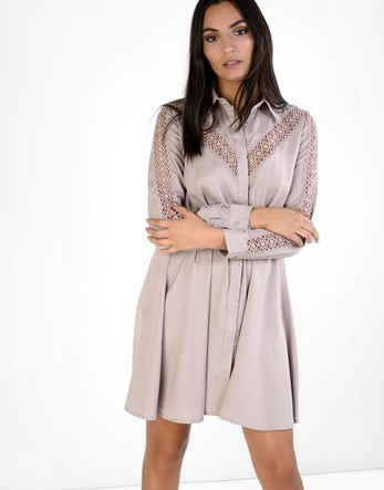 Lace Insert Shirt Dress - style: shirt; length: mid thigh; neckline: shirt collar/peter pan/zip with opening; fit: fitted at waist; pattern: plain; predominant colour: blush; occasions: evening; fibres: polyester/polyamide - 100%; sleeve length: long sleeve; sleeve style: standard; texture group: silky - light; pattern type: fabric; pattern size: standard; season: a/w 2016; wardrobe: event