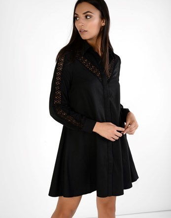 Lace Insert Shirt Dress - style: shirt; neckline: v-neck; pattern: plain; predominant colour: black; occasions: evening; length: just above the knee; fit: soft a-line; fibres: polyester/polyamide - 100%; sleeve length: long sleeve; sleeve style: standard; pattern type: fabric; pattern size: standard; texture group: other - light to midweight; season: a/w 2016; wardrobe: event