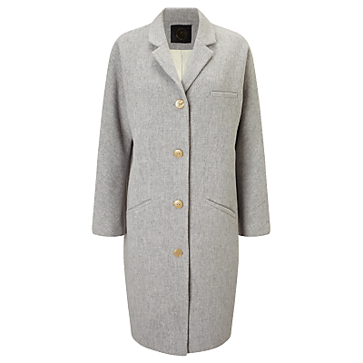 Parfait Coat, Gris Chine - pattern: plain; fit: loose; style: single breasted; length: on the knee; collar: standard lapel/rever collar; predominant colour: light grey; occasions: casual; fibres: wool - mix; sleeve length: long sleeve; sleeve style: standard; collar break: medium; pattern type: fabric; texture group: woven bulky/heavy; wardrobe: basic; season: a/w 2016