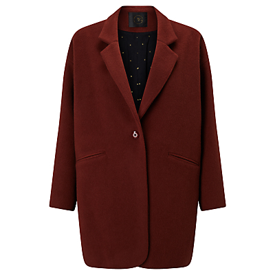 Pernette Coat, Chataigne - pattern: plain; fit: loose; collar: standard lapel/rever collar; length: mid thigh; predominant colour: burgundy; occasions: casual; style: cocoon; fibres: wool - 100%; sleeve length: long sleeve; sleeve style: standard; collar break: medium; pattern type: fabric; texture group: woven bulky/heavy; season: a/w 2016; wardrobe: highlight