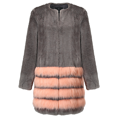 Tundra Coat, Charcoal/Peach - pattern: striped; collar: round collar/collarless; length: mid thigh; secondary colour: pink; predominant colour: charcoal; occasions: evening; fit: straight cut (boxy); fibres: acrylic - 100%; style: fur coat; sleeve length: long sleeve; sleeve style: standard; texture group: fur; collar break: high; pattern type: fabric; season: a/w 2016; wardrobe: event