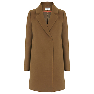 Clean Double Breasted Coat, Tan - pattern: plain; style: single breasted; collar: standard lapel/rever collar; length: mid thigh; predominant colour: tan; occasions: casual, creative work; fit: tailored/fitted; fibres: wool - mix; sleeve length: long sleeve; sleeve style: standard; collar break: medium; pattern type: fabric; texture group: woven bulky/heavy; season: a/w 2016; wardrobe: highlight