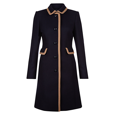 Gweneth Coat, Navy Camel - style: single breasted; length: mid thigh; predominant colour: navy; secondary colour: camel; fit: tailored/fitted; fibres: wool - mix; collar: shirt collar/peter pan/zip with opening; sleeve length: long sleeve; sleeve style: standard; collar break: high; pattern type: fabric; pattern size: standard; pattern: colourblock; texture group: woven bulky/heavy; occasions: creative work; multicoloured: multicoloured; season: a/w 2016; wardrobe: highlight