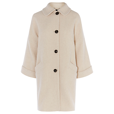 Swing Coat, Neutral - sleeve style: dolman/batwing; pattern: plain; length: mid thigh; predominant colour: ivory/cream; fit: straight cut (boxy); style: cocoon; fibres: wool - mix; collar: shirt collar/peter pan/zip with opening; sleeve length: long sleeve; collar break: high; pattern type: fabric; texture group: woven bulky/heavy; occasions: creative work; wardrobe: investment; season: a/w 2016