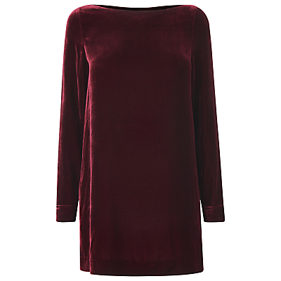 Charlie Velvet Top - neckline: slash/boat neckline; pattern: plain; length: below the bottom; style: tunic; predominant colour: burgundy; occasions: evening; fit: loose; sleeve length: long sleeve; sleeve style: standard; pattern type: fabric; texture group: velvet/fabrics with pile; fibres: viscose/rayon - mix; season: a/w 2016; wardrobe: event; trends: velvet