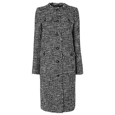 Florence Check Coat - pattern: checked/gingham; style: single breasted; collar: high neck; predominant colour: black; occasions: work, creative work; fit: tailored/fitted; fibres: polyester/polyamide - 100%; length: below the knee; sleeve length: long sleeve; sleeve style: standard; collar break: high; pattern type: fabric; pattern size: standard; texture group: woven bulky/heavy; season: a/w 2016; wardrobe: highlight