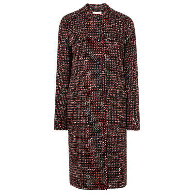 Florence Check Coat - pattern: checked/gingham; style: single breasted; collar: high neck; predominant colour: true red; secondary colour: black; occasions: work, creative work; fit: tailored/fitted; fibres: polyester/polyamide - 100%; length: below the knee; sleeve length: long sleeve; sleeve style: standard; collar break: high; pattern type: fabric; pattern size: standard; texture group: woven bulky/heavy; season: a/w 2016; wardrobe: highlight