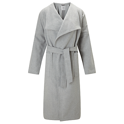 Kassia Overcoat, Grey - pattern: plain; collar: shawl/waterfall; style: wrap around; predominant colour: mid grey; occasions: work, creative work; fit: tailored/fitted; fibres: polyester/polyamide - mix; length: below the knee; waist detail: belted waist/tie at waist/drawstring; sleeve length: long sleeve; sleeve style: standard; collar break: medium; pattern type: fabric; texture group: woven bulky/heavy; wardrobe: investment; season: a/w 2016