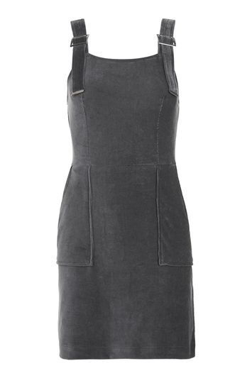 Corded Velvet Pinafore Dress - length: mid thigh; pattern: plain; sleeve style: sleeveless; style: dungaree dress/pinafore; predominant colour: mid grey; occasions: evening; fit: body skimming; neckline: scoop; fibres: cotton - stretch; sleeve length: sleeveless; pattern type: fabric; texture group: velvet/fabrics with pile; trends: tomboy girl; season: a/w 2016; wardrobe: event