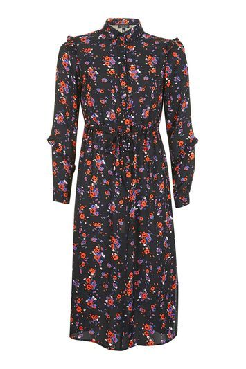 Winterberry Print Shirt Dress - style: shirt; length: calf length; neckline: shirt collar/peter pan/zip with opening; fit: loose; waist detail: belted waist/tie at waist/drawstring; secondary colour: bright orange; predominant colour: black; occasions: casual; fibres: polyester/polyamide - 100%; sleeve length: long sleeve; sleeve style: standard; pattern type: fabric; pattern: patterned/print; texture group: jersey - stretchy/drapey; multicoloured: multicoloured; trends: fashion girl, pretty girl, statement sleeves; season: a/w 2016; wardrobe: highlight