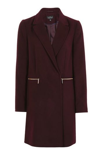 Tall Zip Pocket Boyfriend Coat - pattern: plain; style: double breasted military coat; collar: standard lapel/rever collar; length: mid thigh; predominant colour: aubergine; occasions: work, creative work; fit: tailored/fitted; fibres: polyester/polyamide - stretch; sleeve length: long sleeve; sleeve style: standard; collar break: medium; pattern type: fabric; texture group: woven bulky/heavy; season: a/w 2016; wardrobe: highlight